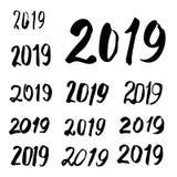 Caligrafía bosquejada 2019 de la tarjeta de felicitación Imagen de archivo libre de regalías