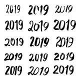 Caligrafía bosquejada 2019 de la tarjeta de felicitación Foto de archivo libre de regalías