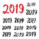 Caligrafía bosquejada 2019 de la tarjeta de felicitación Imágenes de archivo libres de regalías