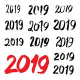 Caligrafía bosquejada 2019 de la tarjeta de felicitación Imagenes de archivo