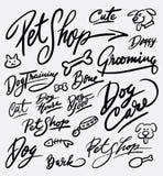 Caligrafía de la escritura del cuidado de la tienda de animales y del perro imagenes de archivo
