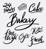 Caligrafía de la escritura de la torta y de la panadería imágenes de archivo libres de regalías