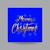 Caligrafía de la Feliz Navidad y poner letras al oro brillante, Illustrati Imágenes de archivo libres de regalías