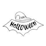 Caligrafía de la tarjeta de felicitación del partido de Halloween, cartel, bandera Negro en blanco deletreado Imagen de archivo libre de regalías