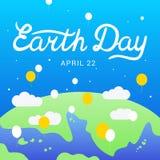 Caligrafía de las letras de Día de la Tierra 22 de abril Vector el ejemplo con las palabras, la tierra y los globos ilustración del vector