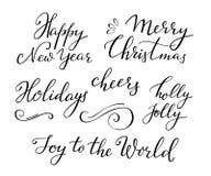 Caligrafía del Año Nuevo de la Navidad Fotografía de archivo libre de regalías