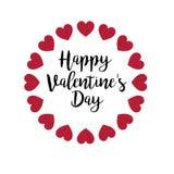 Caligrafía del día de tarjetas del día de San Valentín con los corazones del brillo stock de ilustración