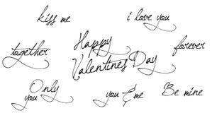 Caligrafía exhausta de la mano del día de San Valentín Mano que pone letras al texto aislado en el fondo blanco Bueno para las ta stock de ilustración