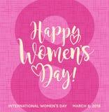 Caligrafía feliz del día del ` s de las mujeres con los corazones Fotografía de archivo