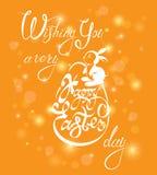 Caligrafía, huevo y conejo del día de fiesta Wi de los saludos de las letras de la mano Imagen de archivo