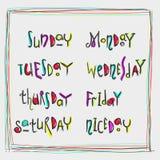 Caligrafía manuscrita de los días de la semana Imagen de archivo
