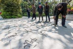 Caligrafia chinesa com a porcelana de shanghai do parque de fuxing da água Foto de Stock Royalty Free