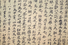 Caligrafia chinesa do scripture do chá fotografia de stock
