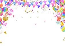 A caligrafia com sumário Balloons Bunny Ears, projeto feliz do cartaz da celebração do feriado do fundo da Páscoa Ilustração do v ilustração do vetor