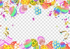 A caligrafia com sumário Balloons Bunny Ears, projeto feliz do cartaz da celebração do feriado do fundo da Páscoa Vetor ilustração stock