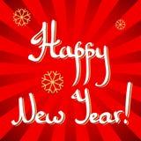 Caligrafia da rotulação da mão do ano novo feliz Imagens de Stock Royalty Free