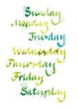Caligrafia da semana Foto de Stock Royalty Free