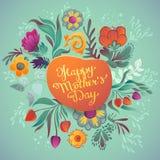 Caligrafia desenhado à mão feliz do dia de mãe Fotos de Stock Royalty Free