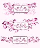 Caligrafia do casamento em ornamento florais Imagens de Stock Royalty Free