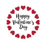 Caligrafia do dia de Valentim com corações do brilho ilustração stock