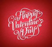 Caligrafia feliz do cumprimento do dia de Valentim no fundo vermelho Imagens de Stock Royalty Free