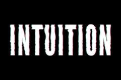 Caligrafia gráfica da rotulação da forma da cópia do vetor da frase da intuição do slogan fotografia de stock royalty free