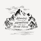 Caligrafia inspirador da montanha Desenho da mão Ilustração do vetor Imagem de Stock