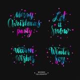 Caligrafia moderna de Brushpen do vetor, Feliz Natal Deixais lhe para nevar Aqueça desejos Alegria do inverno lettering ilustração stock
