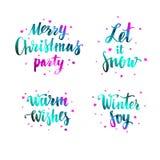 Caligrafia moderna de Brushpen do vetor, Feliz Natal Deixais lhe para nevar Aqueça desejos Alegria do inverno lettering ilustração do vetor