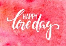 A caligrafia tirada e a escova do dia do amor mão feliz encerram a rotulação no fundo vermelho do watercolour ilustração stock