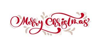 Caligrafia vermelha do vintage do Feliz Natal que rotula o texto do vetor com o inverno que tira mitenes escandinavos Para o proj ilustração royalty free