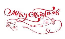 Caligrafia vermelha do vintage do Feliz Natal que rotula o texto do vetor com o inverno que tira mitenes escandinavos Para o proj ilustração stock
