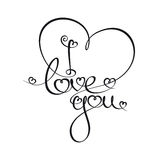 Caligraphic Text - I Love You. Custom Handwriting Calligraphic typography of I love you. The line art follows on double-weight font design rules royalty free illustration