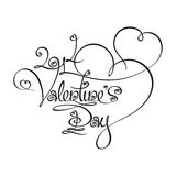 Caligraphic Text Valentines Day 2014. Custom Handwriting Calligraphic typography of 2014 Valentines Day. The line art follows on double-weight font design rules Stock Images