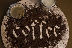 Caligraphy and coffee royalty free stock images