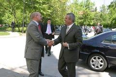 Calin Popescu Tariceanu e Jonathan Scheele Fotografia Stock