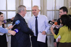Calin Popescu Tariceanu and Liviu Dragnea - letter for Romanian Royalty Free Stock Photography