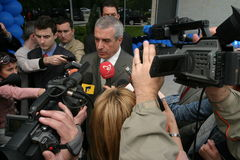 Calin Popescu Tariceanu with press Royalty Free Stock Photo