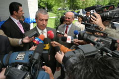 Calin Popescu Tariceanu with press Royalty Free Stock Image
