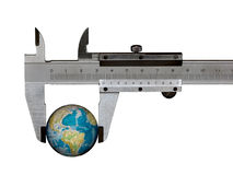 Caliper. Isolated caliper with earth (isolated on a black background stock image
