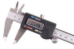 Caliper. Macro of digital caliper isolated on white stock photography
