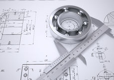Caliper and bearing in the drawing Stock Photography