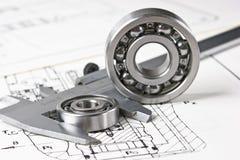 Caliper with bearings. Caliper and bearings in the drawing stock image