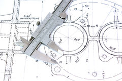 Caliper on Blueprint. Horizontal. Shallow DOF Stock Photo