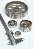 Caliper with gears and bearings Royalty Free Stock Photos