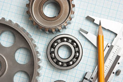 Caliper with gears and bearings Royalty Free Stock Images