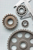 Caliper with gears and bearings Royalty Free Stock Photo