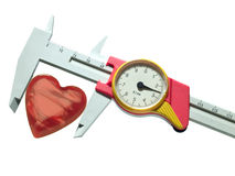 Caliper and heart. Caliper, measurement of heart, isolated over white royalty free stock photography