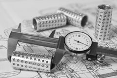 Caliper. Linear ball bearings. Plan. Measuring of metal rollers. Technical drawing stock images