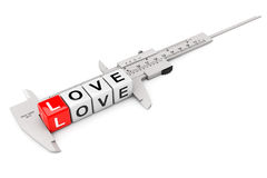 Caliper Measure Love Cubes Stock Images